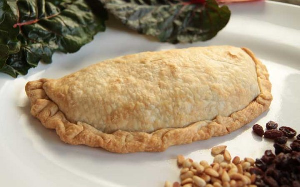 Swiss chard calzone with pine nuts and raisins mjskitchen.com