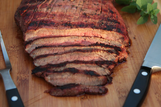 Soy-Port marinated grilled flank steak