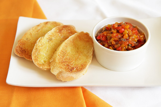 Roasted Bell Pepper Appetizer with toast