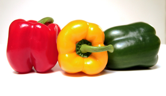 Three bell peppers- red, yellow, green