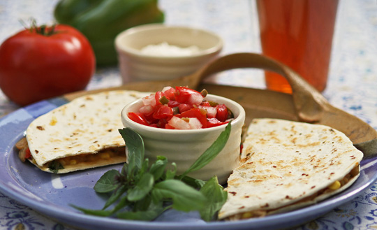 Quesadilla with pico de gallo from mjskitchen.com