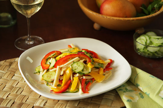 Mango Jicama Salad with pickled cucumbers, bell peppers, and mint. #jicama #mango @mjskitchen mjskitchen.com