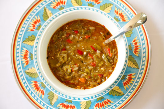 A bowl of New Mexico green chile sauce mjskitchen.com