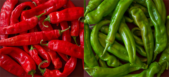 red and green chile peppers