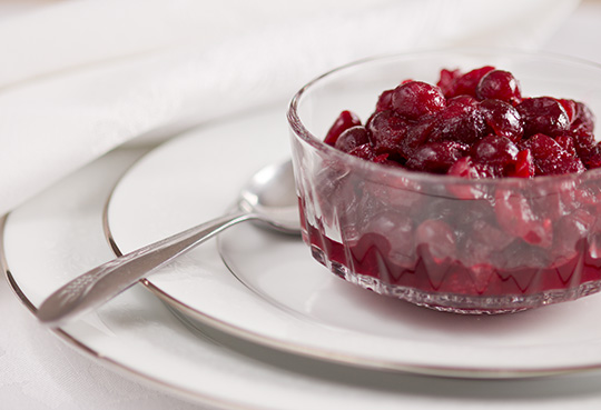 Cranberry sauce with three types of cranberries