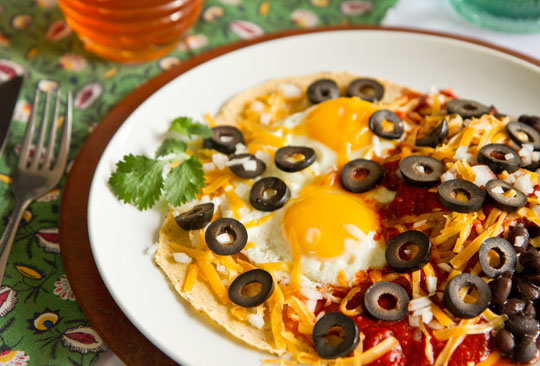 Ranch eggs - Huevos Rancheros with New Mexico Red Chile Sauce