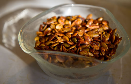 Sweet and spicy pepitas (pumpkin seeds) #pumpkin #seeds @mjskitchen mjskitchen.com