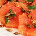 Citrus salad of cara cara oranges with toasted pumpkin seeds