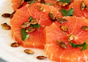 Citrus salad of cara cara oranges with toasted pumpkin seeds