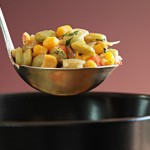 Lima beans, corn, and green chile succotash