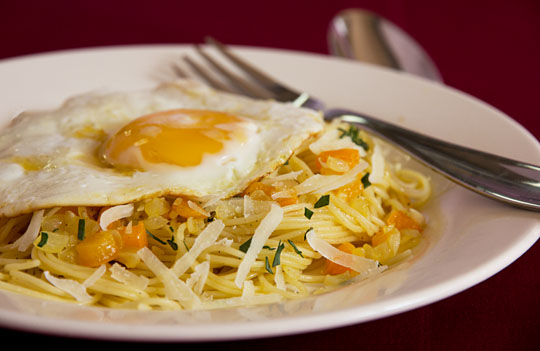 Capelinni pasta with preserved lemons and an egg