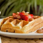 Waffles with bananas and strawberries