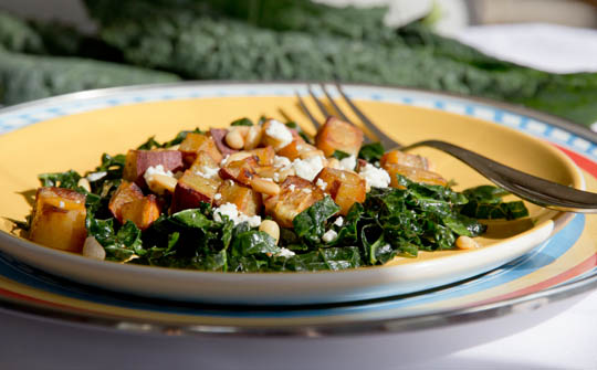Massaged Kale, roasted sweet potatoes and feta cheese salad