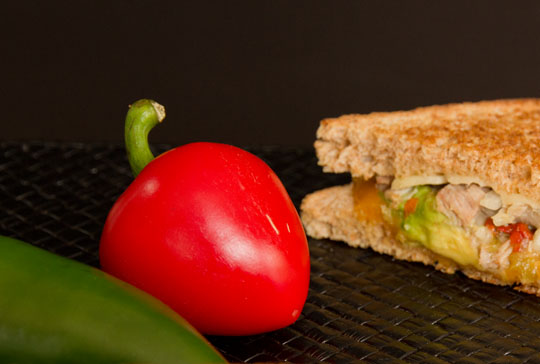 Cherry Bomb Pepper used for turkey grilled cheese sandwich