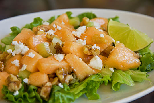 Cantaloupe Walnut Salad with a lime dressing is so simple to make, with very few ingredients. #cantaloupe @mjskitchen mjskitchen.com