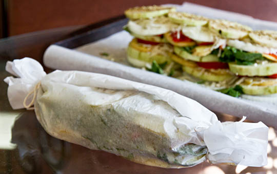 Assortment of vegetables, stacked, wrapped in parchment and grilled.  #vegan #recipe @MJsKitchen