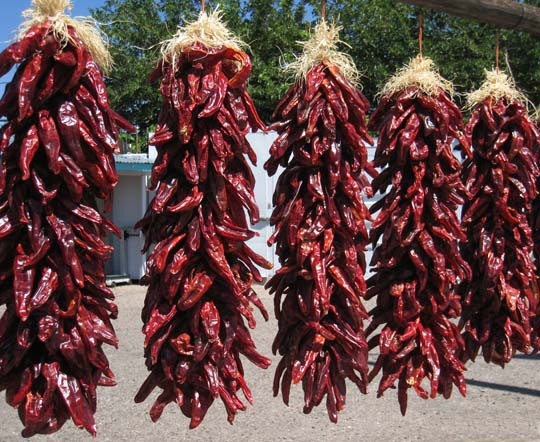 Ristras of New Mexico red chiles
