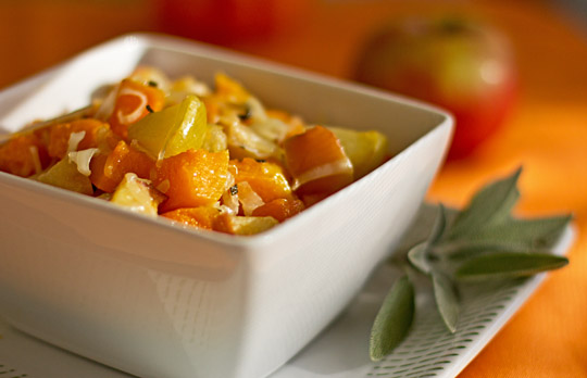 Roasted Butternut Squash and Apples with Manchego Cheese Recipe