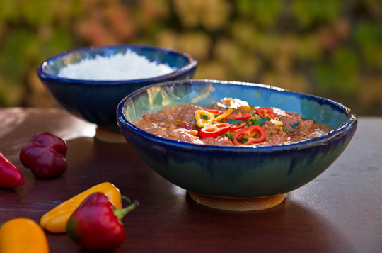 Stew with beef, tomatoes, peppers, and peanut butter