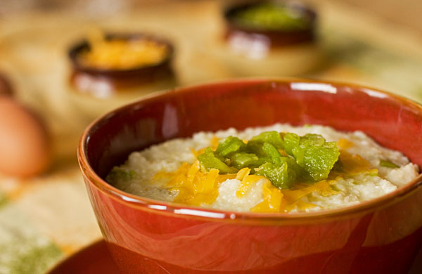 Grits and Green chile with cheese