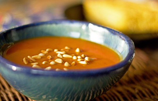 A spicy pumpkin soup with New Mexico red chiles and pinon nuts