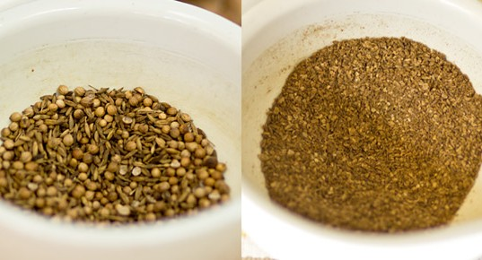 A spice mix of toasted coriander and cumin seeds