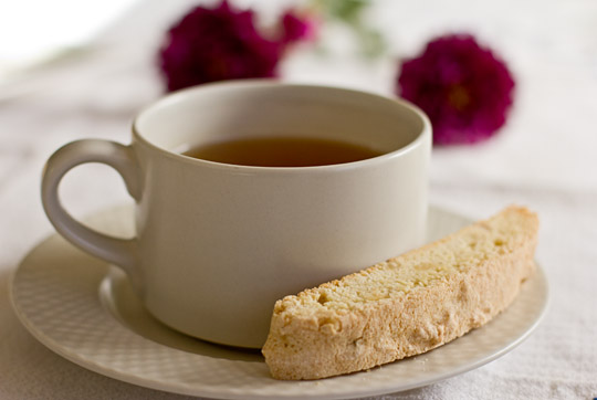 Pinon Biscotti and hot tea
