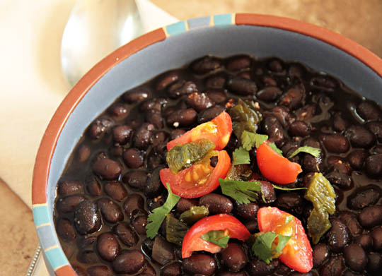 bowl of pressure-cooked black beans