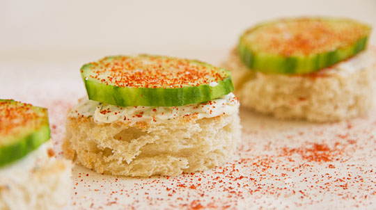 Cucumber Crostini - a great summer snack. @MJsKitchen