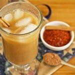 Iced coffee made with Mayan chocolate powder - coffee with a kick