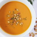 Kabocha Squash Soup with Toasted Pumpkin Seeds and fennel fronds