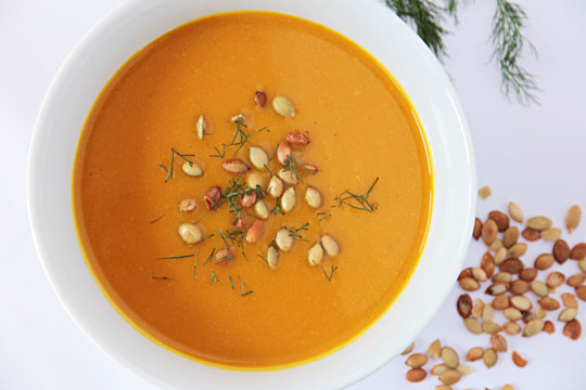 Kabocha Squash and Fennel Soup with toasted Pumpkin Seeds