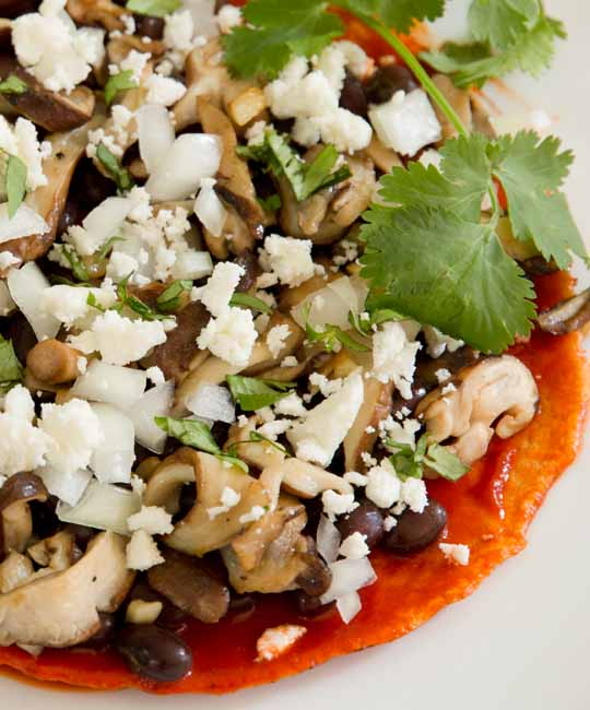 Enchiladas with black beans, shiitakes, feta, and red chile sauce