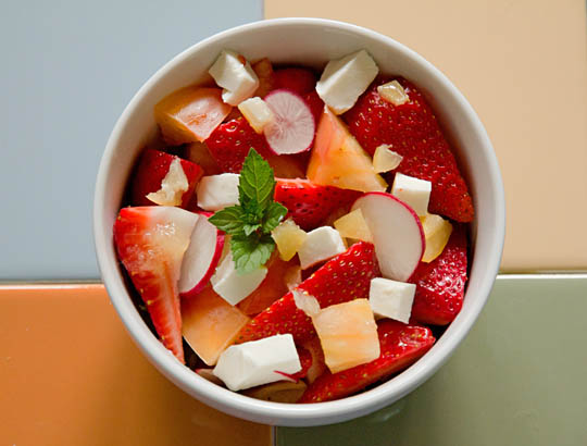 A refreshing Strawberry tomato salad with radish and mint. Perfect for the summer. mjskitchen.com