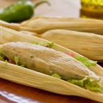 Tamale with corn, mushroom, green chile - vegan