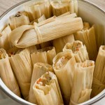 A pot of steamed tamales
