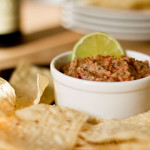 Blackeyed Pea Chipotle Dip with chips