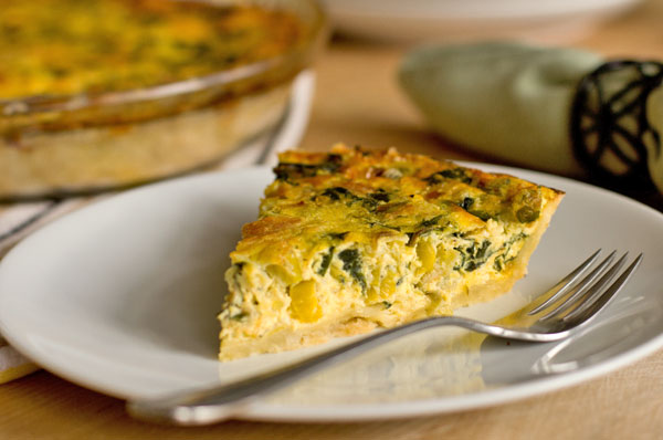 A slice of Swiss chard and leek quiche