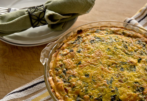 A Swiss chard and leek quiche