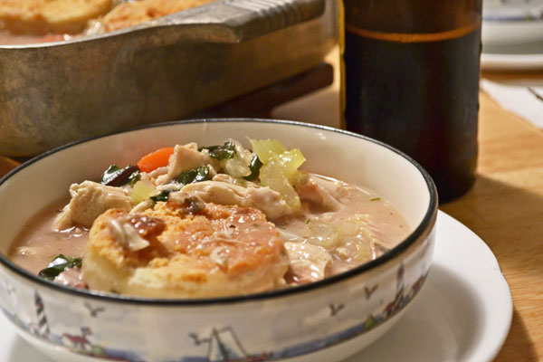 Serving of chicken pot pie
