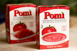 Pomi tomatoes - chopped and strained