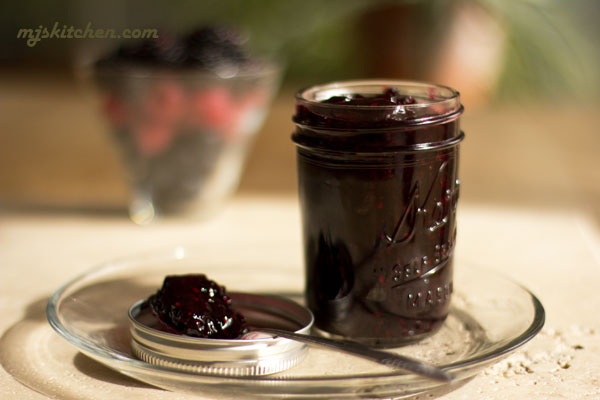 Mixed berry jam with blueberries, raspberries and blackberries