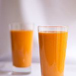 A smoothie made with apricots and Thai tea
