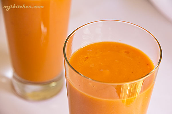 Thai Tea Apricot Smoothie with Mango, maple syrup (if needed), and yogurt. mjskitchen.com