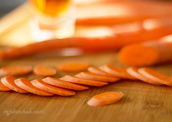sliced carrots and a little bourbon make a great side dish