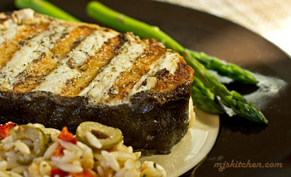 Grilled Halibut-spread with mayo before grilling for a moist fish ...