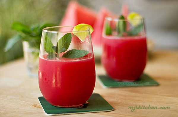 Watermelon juice with mint and lime