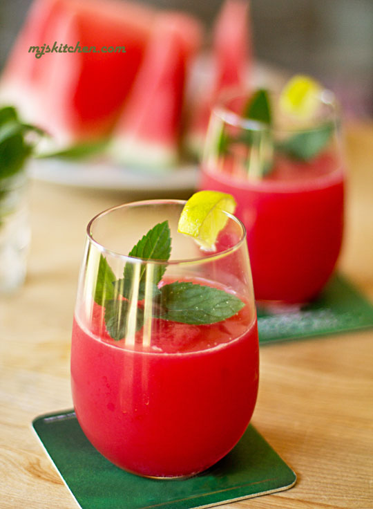 A watermelon cocktail made with mint, lime and vodka