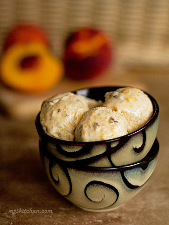Fresh Peach ice cream with toasted pecans