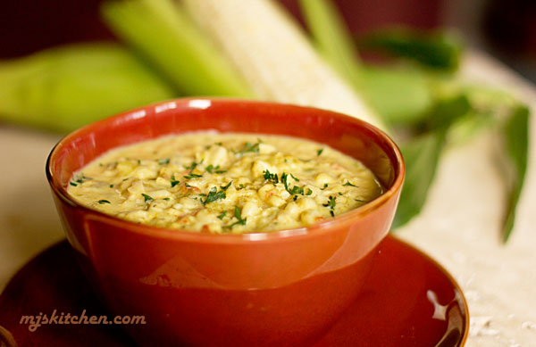 A chowder made with New Mexico green chile, corn and yellow squash